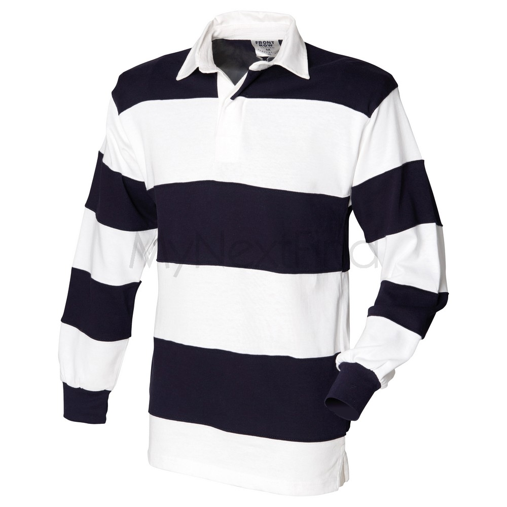 Front Row Mens Womens Sewn Stripe Long Sleeve Rugby Shirt